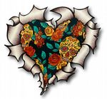 Ripped Torn Metal Heart with Mexican Sugar Skull & Roses Motif External Car Sticker 105x100mm